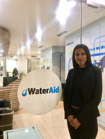 Kiranmai discusses the importance of water quality testing at Water Aid India in New Delhi.
