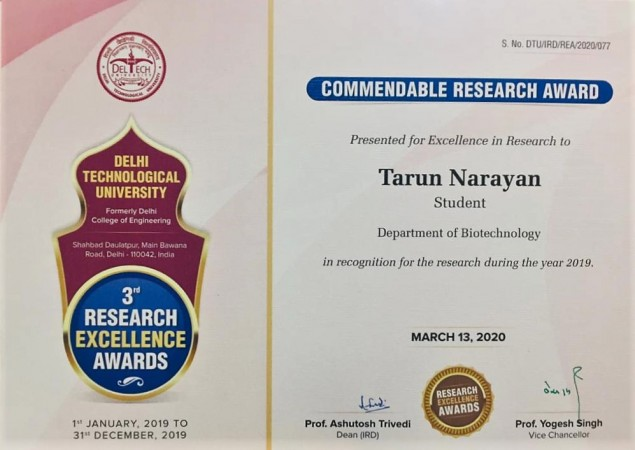 Tarun Narayan recieves Commendable Research Award from Delhi Technological University