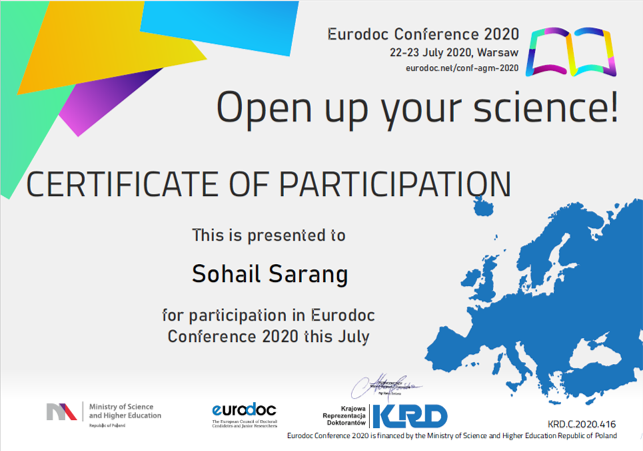 Sohail Sarang attended the first online Eurodoc Conference (Eurodoc 2020)