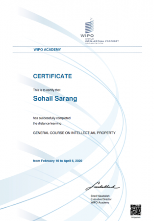 Sohail Sarang has successfully completed the World Intellectual Property Organization's (WIPOs) general course on intellectual property
